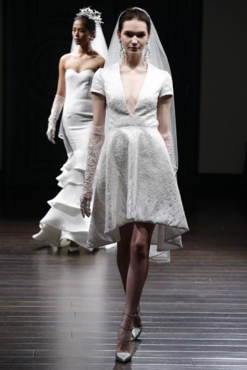 vestido novia corto Naeem Khan