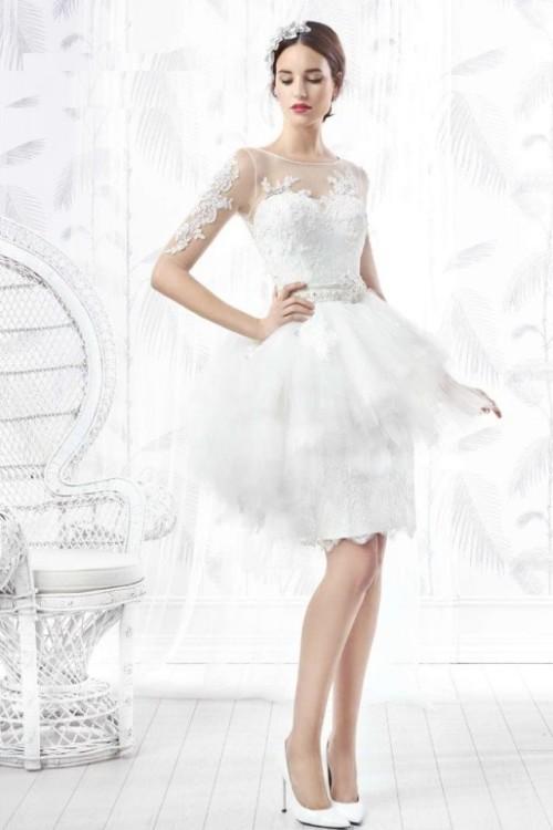 vestido novia corto Valerio Luna