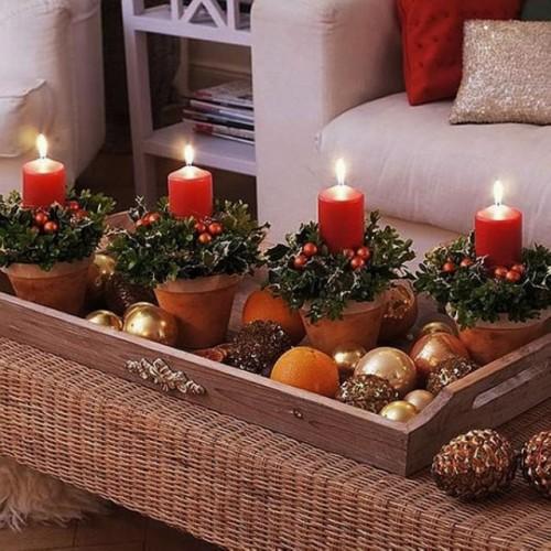 decoración navidad con velas
