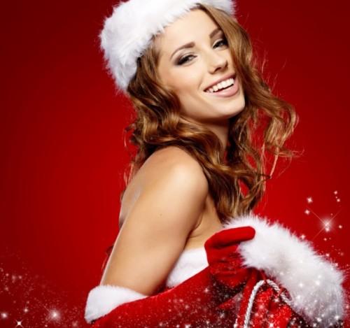 Mujer vestida de Papá Noel