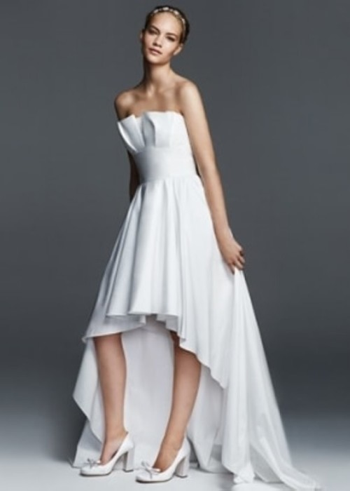 vestido de novia asimétrico
