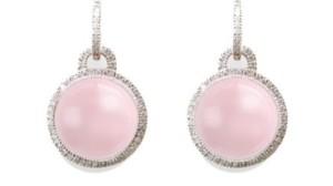 Pendientes en oro blanco con cuarzo rosa