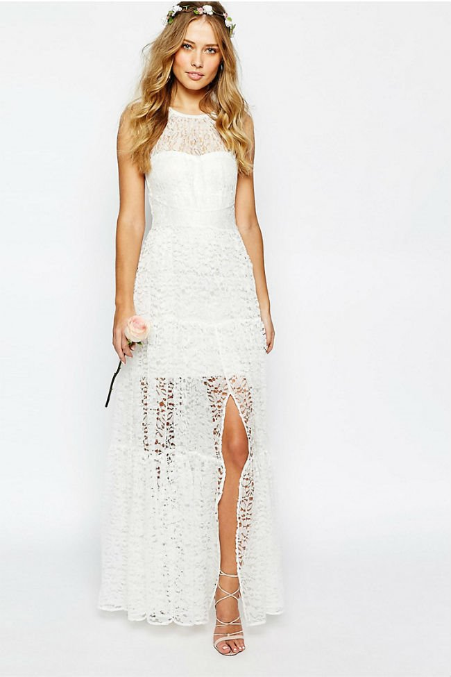 3c55a2bec Vestidos de novia de Asos encaje a capas