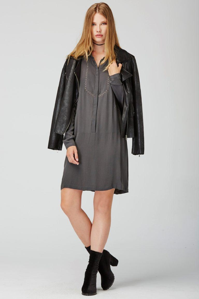 Vestido camisero en color gris