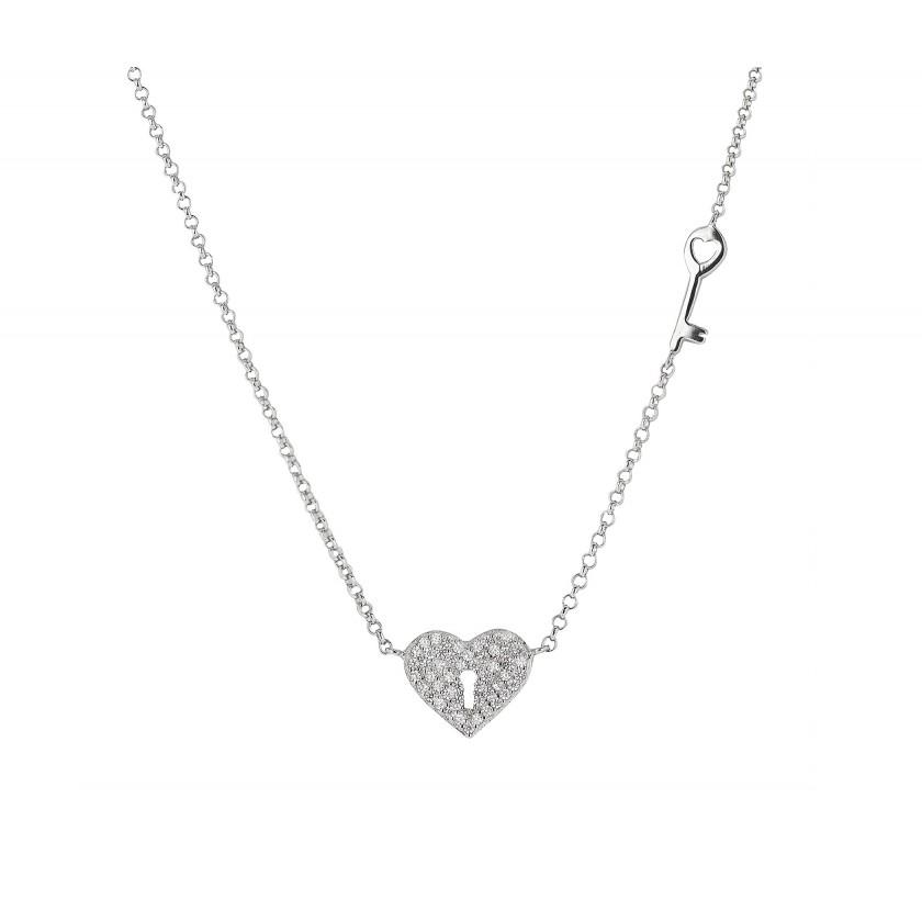 Cadena Corazón y Llave de Plata